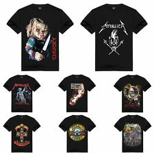 Black Mens Punk Rock 3D Skull Graphic Tee Short Sleeve T-shirts Gym Sports Tops