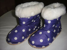 Gymboree Super Star purple polka dot faux fur lined boots 10 girls'