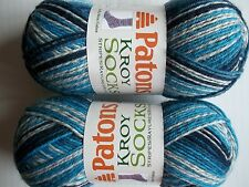 Patons Kroy Socks Stripes yarn, Sing 'n the Blues Stripes, lot of 2 (166 yds ea)