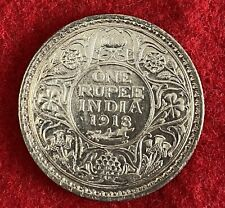 BRITISH INDIA 1918 C ONE RUPEE 0.917 SILVER GEORGE V