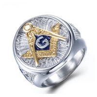 Bague chevaliere motif G Bleu doré Diamant FrancMaçon homme Bijoux Modèle 28