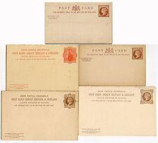 GB QV enteros postales tarjetas de respuesta pagada.. 5 diferentes