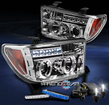 2007-2013 TOYOTA TUNDRA SEQUOIA HALO LED CLEAR PROJECTOR HEAD LIGHT+BLUE DRL+HID