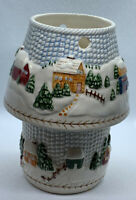 Vintage White Christmas Scene Tea Light Candle Holder