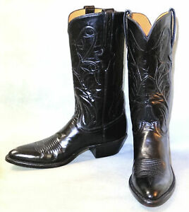 NEW 9 A LUCCHESE CLASSIC NARROW BLACK GOAT SKIN MENS COWBOY BOOTS