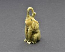 Antique Japanese Elephant Netsuke. Okimono Hand Embellished From Resin