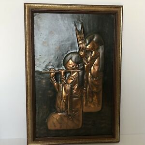 Vintage Copper Wall Art Embossed framed Picture of Asian Women Playing Music