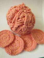 Large Shower Puff & 4 Crochet Face Scrubbies. 100 % Cotton FREE  P&P   (alp)
