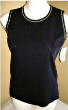 MISOOK NAVY BLUE TULIP YELLOW SHELL TOP PETITE PS