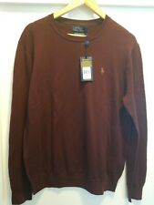 Polo Ralph Lauren Sweater Merino Wool Crewneck Burgundy Red Medium NWT
