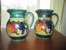 "Set of 2 Studio Arta European Art Pottery Hand Painted Fruit 5"" Jugs Pitchers"