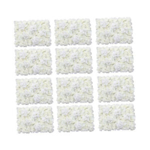 Artificial 12 Pcs 24'' x 16'' 3D White Rose Wall Decorations