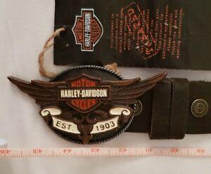 Vintage Men Western Cowboy Leather Belt with Buckle Metal Harley Davidson NEW