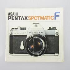 ORIGINALE Asahi Pentax Spotmatic F manuale d'uso/Istruzioni
