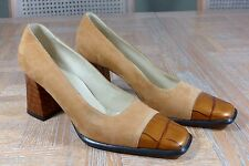 Women's Escada Size 6B Sand Suede Tan Moc Croc Toe and Heel Leather Pumps