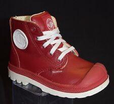 PALLADIUM infant's TODDLER Pampa HI leather BOOTS-Red/white - US size 6 C