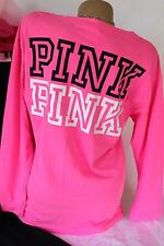 Victorias Secret PINK Womens Small T Shirt Long Sleeve Campus Tee Neon Nwt