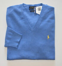 New Men's Polo Ralph Lauren V-Neck Pullover Sweater, Blue, M, Medium