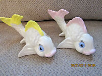 "Pair of fish figurines ceramic yellow and pink fins tails 3.5""T x 6""L marine"