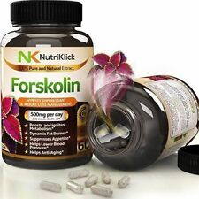 NutriKlick Forskolin 500mg Weight Loss Appetite Suppressant Fat Burner 60 Ct.