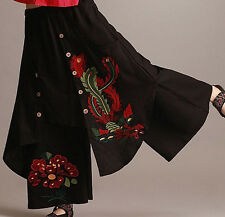 Vintage 70s Mexican Embroidery BOHO Womens Skirts Cotton Linen Long Skirt Dress