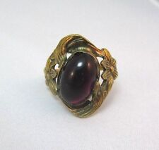 PURPLE GLASS STONE SET IN ANTIQUED GOLD FILLED RING SETTING **