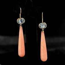 orecchini Dorato Ovale Cristallo Blu Goccia Lungo Quarzo Rosa Semplice QD3
