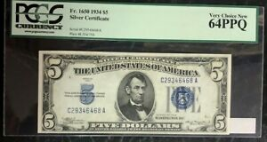 1934 $5 SILVER CERTIFICATE, FR-1650, PCGS VERY CHOICE NEW 64 PPQ