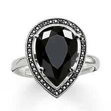 GenuineThomas Sabo Sterling Silver Black CZ Pear shaped ring TR2043 Size 54 £145