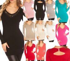 SeXy Miss Damen V Pullover Long Pulli Strass Feinstrick Pulli Mini Kleid XS/S