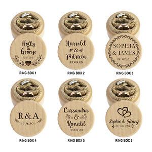 Personalised Wedding Ring Box Ring Bearer Holder Proposal Laser Engraved Gift