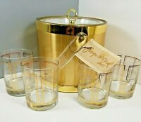 Vintage George Briard 5 pc Gold Set B3351-05 Ice Bucket w/ 4 Double Old Fashions
