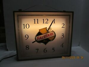 Vintage Falstaff Lighted Clock  WORKS Syncaron (#8-11-09-20)