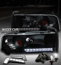 94-01 DODGE RAM TRUCK LED STRIP BLACK CRYSTAL HEAD LIGHTS W/DRL SIGNAL+6000K HID