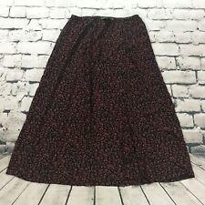 LL Bean Women's Skirt Long Floral Maxi Tie Waist Black Pink Size Medium