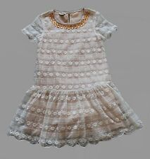 MONSOON Ivory Floral Lace Beaded Girls Dress Bridesmaid Wedding Party 6 years