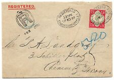 QV sg 206a Deep bright Carmine perfin on registered envelope with German Cert.