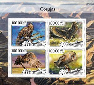 OWLS (Corujas) Birds of Prey Mint MNH Stamp Sheet M/S (2016 Mozambique)