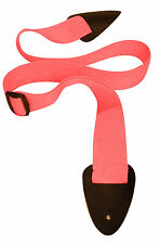 NEW YORK PRO PINK POLYPRO GUITAR STRAP-LEATHER ENDS-NEW!!