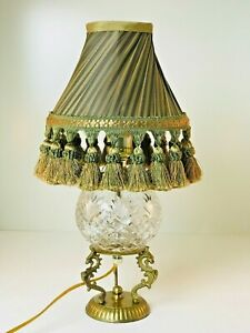 "Vintage Small 15"" Brass & Crystal Table Lamp W Olive Green & Gold Shade W Fringe"