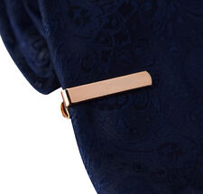 Mens 3CM Tie Bar - Chrome Rose Gold -Skinny Clip  Stainless Steel Clasp Pin