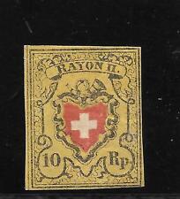 Suiza. Muy bonito sello nuevo de 10 Rp. Rayon II. Ivert nº 15*. Valor 850 Euros