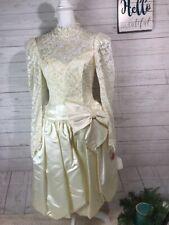 vintage wedding dress long sleeve midi Gown Size 7/8 Ivory