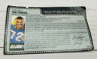 GI Joe 1986 William The Fridge Perry Mail Away File Card Vintage Red Back Uncut