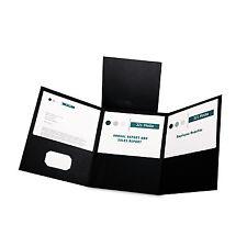 Oxford Tri-Fold Folder w/3 Pockets Holds 150 Letter-Size Sheets Black 59806