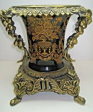 Urn Vase Compote Gilded Bonze Metal Ormolu Grapes Vine Handles Ornate Foot Base