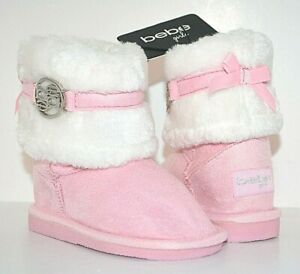 BEBE TODDLER GIRLS FAUX FUR WINTER BOOTS BOOTIES PINK WHITE SHOES 7 MSRP $45 NEW