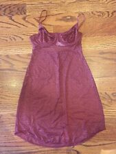 DKNY INTIMATES - Modern Lace Unlined Demi Chemise Dress DK7004 Rust - S NWOT