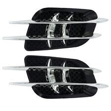 POP Black/Silver Car Vehicle Decor Side Vent Air Flow Fender Vents 3D Stickers
