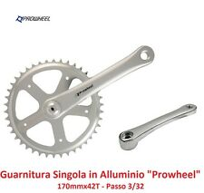 110K Guarnitura Singola Cromata in Alluminio 42T per bici 26-28 Fixed Scatto Fis